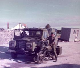 Argentine soldiers with captured Royal Marine vehicles, Falklands, 1982.