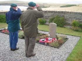 Peter Cameron and Chris Nunn at Richard Nunn's grave - March 2010
