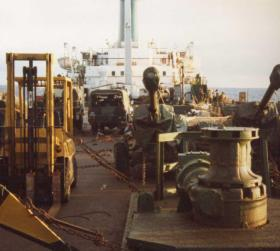 2 PARA Vehicles and Royal Artillery 105mm guns on the Europic Ferry in the Task Force, 1982
