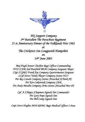 HQ Support Company 21st Anniversary Dinner of the Falklands War, 2003.