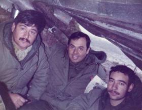 Argentine soldiers in a sangar, Stanley airfield, Falklands, 1982