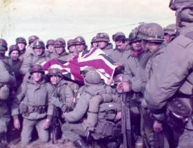 Argentine Marines with the Union flag, Port Stanley, 1982