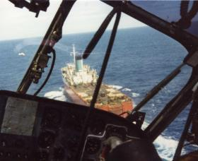Cross Decking to the Europic Ferry in the Task Force, 1982