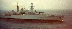 The MV Norland is escorted by HMS Broadsword, 1982
