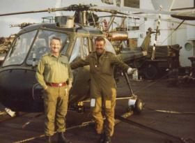 Tom Godwin and Sgt Kalinski after Cross Decking to the Europic Ferry, 1982