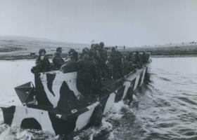 A landing craft heads to shore, Falklands, 1982