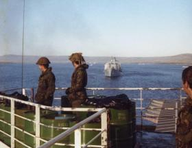 View of San Carlos Water from the MV Norland, Falklands, 1982