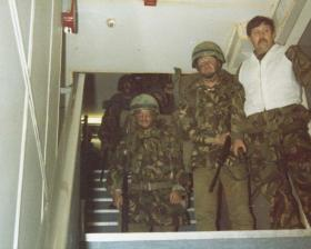 Paras moving to their assault stations, MV Norland, 1982