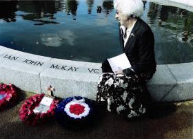 Mrs Freda McKay at her son's memorial, Rotherham, 2011