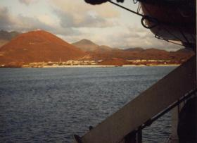 View of Ascension Island from MV Norland, 1982