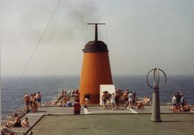Amidships on the MV Norland, en route to the Falklands, 1982