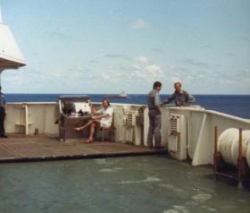 MV Norland crew on the bridge, Acension Island, 1982