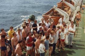 The ship's crew on Sports Day, MV Norland, 1982