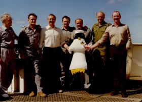 Group photo of members of 2 PARA and the ship's crew on the MV Norland, 1982