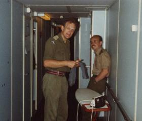 Ironing in the corridor, MV Norland, 1982