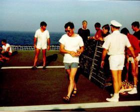 Prize giving presentation by Don Ellerby, Sports Day, MV Norland, 1982