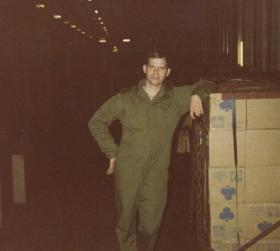 L/Cpl Harris in the ration store, MV Norland, 1982