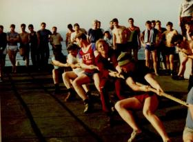 The Tug of War Competition 2 PARA Sports Day, MV Norland, 1982