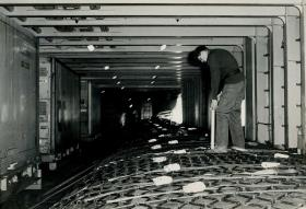 The additional water tanks installed in the MV Norland for the journey to the Falklands, 1982