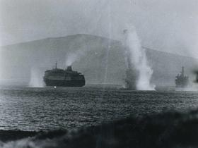 Argentine bombs explode near the MV Norland, San Carlos Water, Falklands, 1982