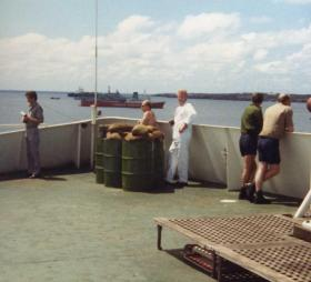 Rudimentary anti-aircraft position created on Norland with oil barrrels and sand bags, Ascension Island, 1982