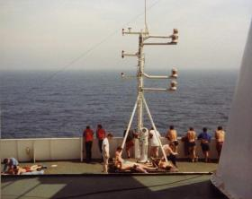 The area above the bridge on the voyage to the Falklands, MV Norland, 1982