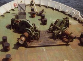 The bow of the MV Norland, en route to the Falklands, 1982