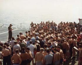 Another view of Padre Cooper's service, MV Norland, 1982