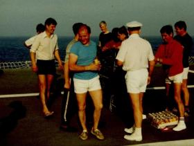 Beer as a prize on Sports Day, MV Norland, 1982