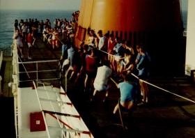 Sports Day on the MV Norland, 1982