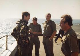 Lt Col H Jones and other 2 PARA officers, MV Norland, 1982