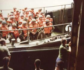 Paras onboard Landing Craft, Ascension Island, 1982