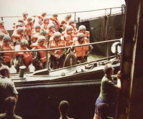 Paras onboard Landing Craft, Ascension Island, 1982