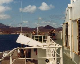 View of Ascension Island from the bridge, MV Norland, 1982