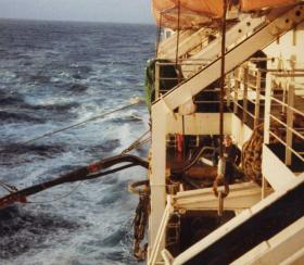 Refuelling at sea, MV Norland, 1982