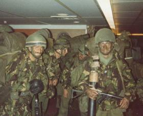 Preparing to be the first battalion group ashore from the MV Norland, Falkland Islands, 21 May 1982.