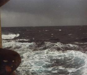 The Seas Become more turbulent as the Task Force heads to the Falklands after leaving Ascension Island, 1982