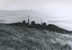Defensive positions on Sussex Mountain, Falklands, 1982