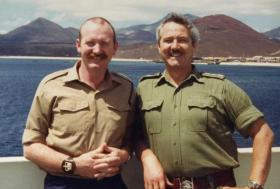 Tom Godwin and Acting TQMS WO2 Dell, Ascension Island, 1982
