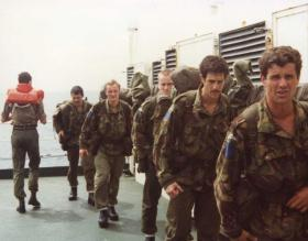 Members of 2 PARA training on the MV Norland, 1982