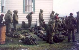 Paras on the morning of the surrender, Stanley, Falkland Islands, 1982.