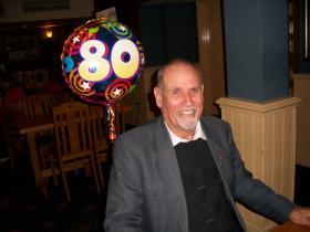 Chris Saunders celebrating his 80th birthday