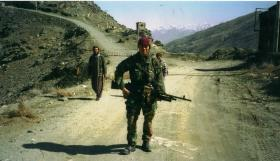 Mark Magreehan on patrol on TV Hill near Kabul, Afghanistan, 2002