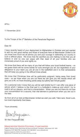 Christmas Message to 3 PARA from Sir Alex Ferguson, December 2010
