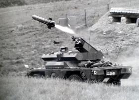 Ferret Swingfire guided weapon firing, Otterburn, 1972.