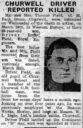 Press cutting from The Morley Observer on Driver Ernest Field, 1945.