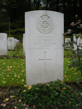 Headstone for Dvr Ernest Field, Reichswald Forest War Cemetery, 2010.