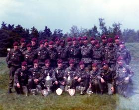 Recruits and Junior Para Coy members at a Skill At Arms Meeting (SAAM), July 1983.