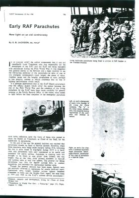 Article from FLIGHT International about early RAF parachutes.