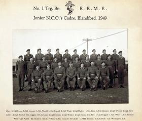 Group Photograph of the Junior NCO's Cadre, Blandford, 1949.